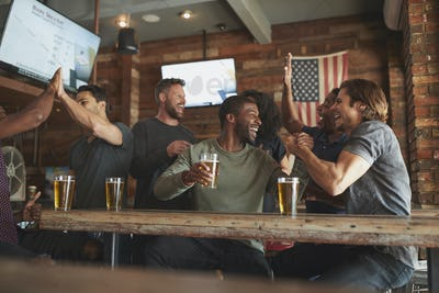 Group Of Friends Watching Game On Screen In Sports Bar