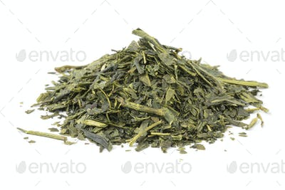 Heap of dried Japanese green tea
