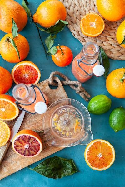Fresh pressed blood oranges juice