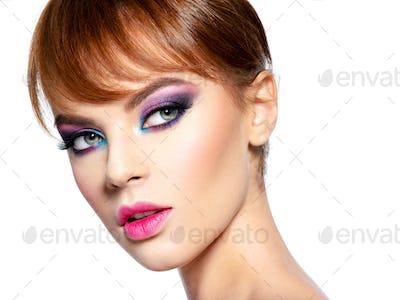 Fashion model with creative eye makeup
