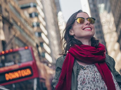 Smiling girl in Manhattan in New York