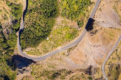 Aerial view of Serra Malagueta natural parc in Santiago island i