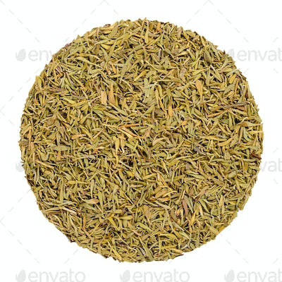 Dried thyme, herb circle from above, over white