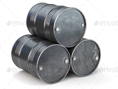 Black metal oil barrels isolated on white background. Oil and pe