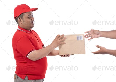 portrait of delivery man hold boxes and a customer hand