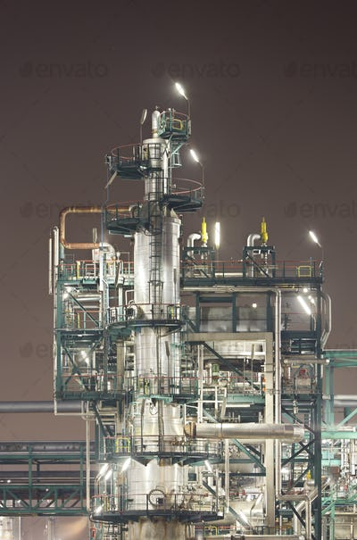 Refinery Detail At Night