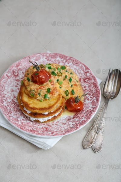 Huevos pericos or colombian scrambled egg, copy space