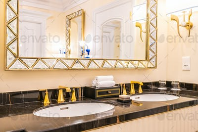 beautiful luxury faucet and sink decoration in bathroom