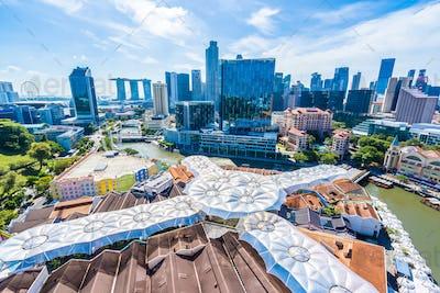 Beautiful architecture building exterior cityscape in Singapore