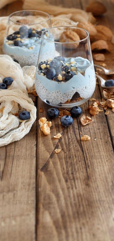 Blueberries and yogurt chia pudding parfait