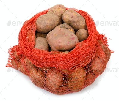 Potato tubers in the grid  container