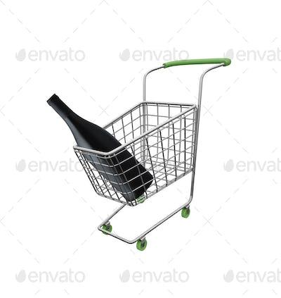 shopping cart with big wine bottle isolated on white background
