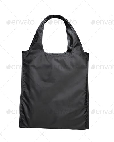 Black beamless fashion paper-bag with cords.