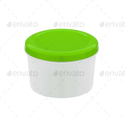 food container with green plastic lid isolated on white background