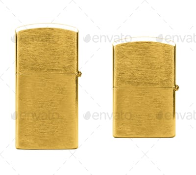 Elegant golden gas cigarette lighter isolated on white background