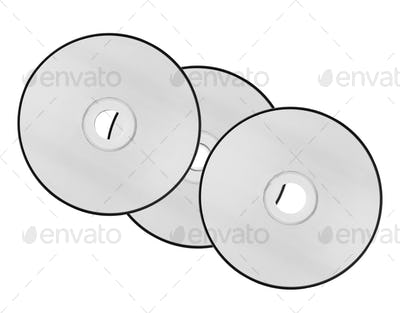 compact discs on a white background