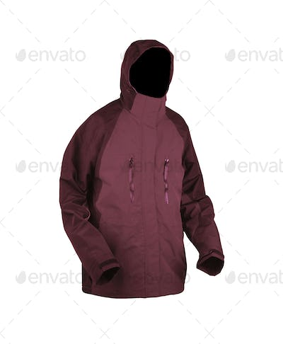 red male winter jacket isolated on white background