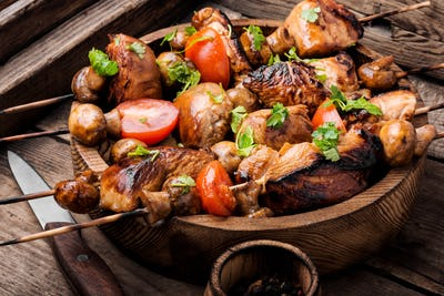Grilled shish kebab on skewers