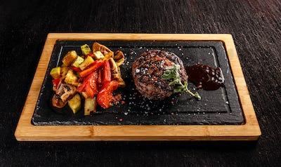 Ribeye steak with grilled vegetables