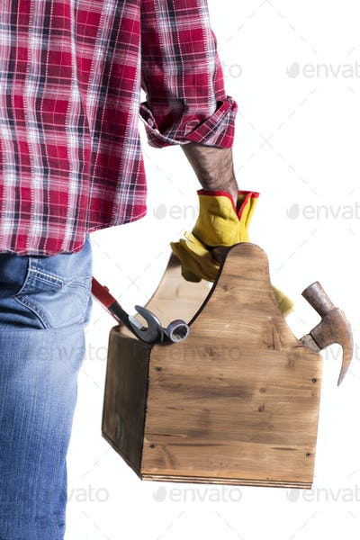 isolated in white handyman with toolbox