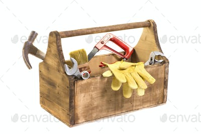 isolated in white vintage wooden toolbox