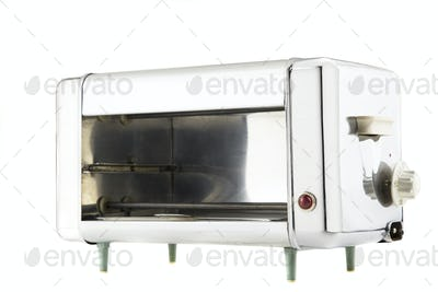 isolated vintage electric oven with chrome surface
