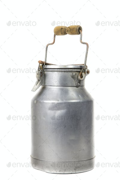 old milk container isolated in white background