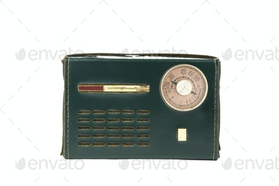 isolated vintage portable radio covered in green leather