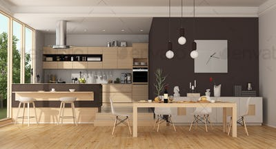 Modern wooden and brown kitchen