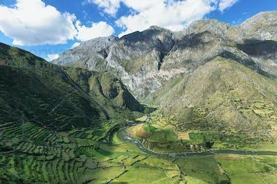 Pre-inca Marcatupe platforms in Nor Yauyos Cochas, Peru
