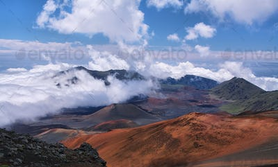 Caldera of the Haleakala volcano in Maui island