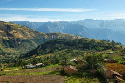 Views of houses and terraced fields in Ancash province, Peru