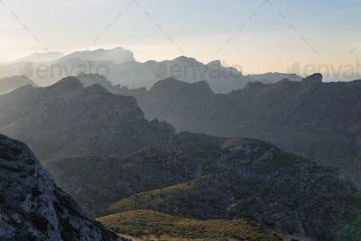 Mountains of Serra Tramuntana from Cape Formentor in Majorca, Spain