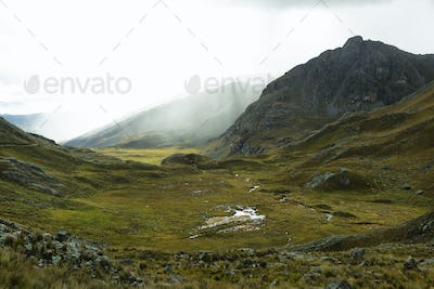 View of foggy valley going to Pastoruri glacier