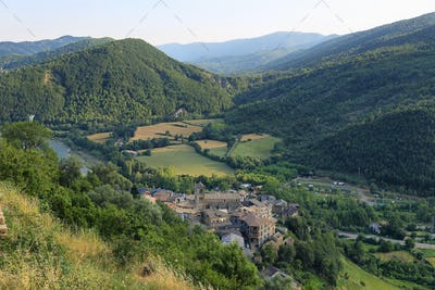 View of Boltana, a picturesque and small village in Huesca, Spain