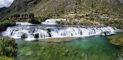 Clear waters of Cañete river in Huancaya village, Peru