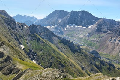 View of Tena Valley in The Pyrenees, Huesca, Spain.