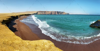 Red sand beach of Paracas National Reserve in Peru