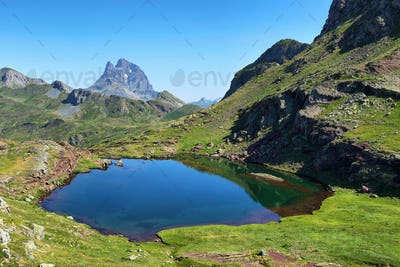 Pic du Midi d Ossau from Anayet plateau in Spanish Pyrenees, Spain