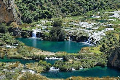 Clear waters of Cañete river near Vilca village, Peru