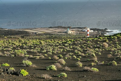 Salt water lakes  and lighthouse in Fuencaliente