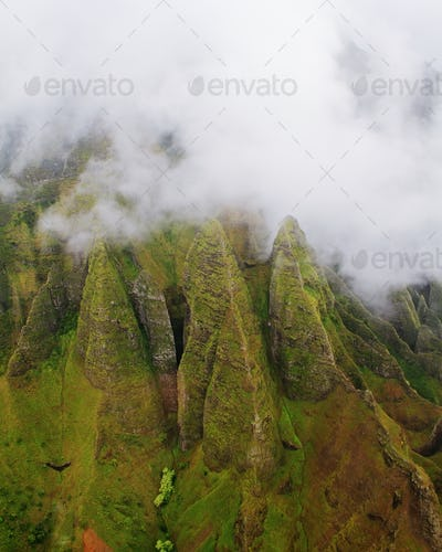 Aerial views Kauai island west coast
