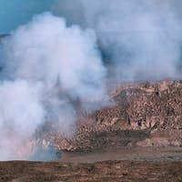 Panoramic view of active Kilauea volcano crater