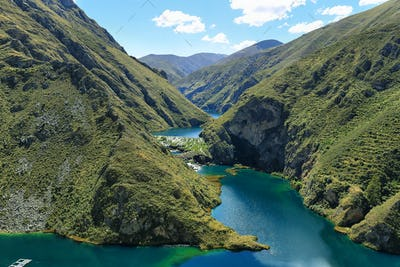 Clear waters of Canete river near Vilca village, Peru