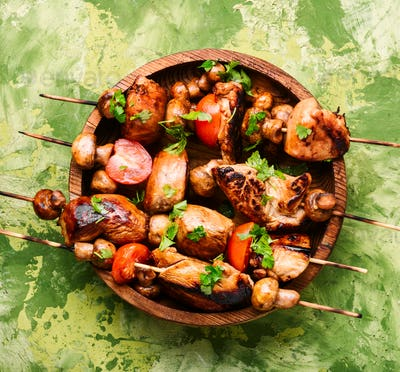 Grilled shish kebab or shashlik