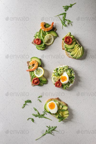 Variety of avocado sandwiches