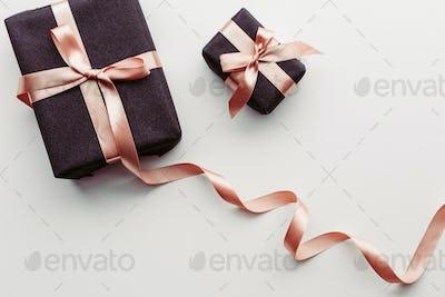 Black gift box on white background.