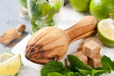 Ingredients for making mojitos.