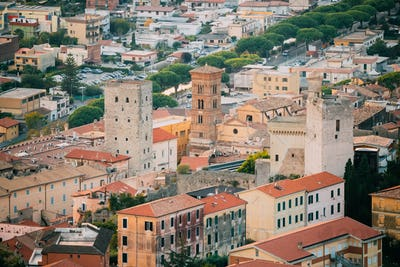 Terracina, Italy. Cityscape With Tower Of Cathedral Of San Cesar