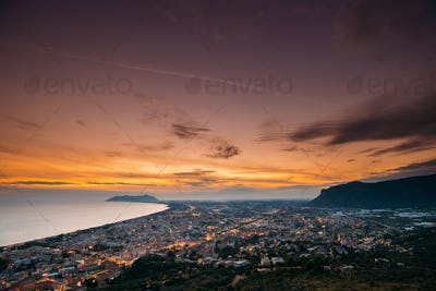 Terracina, Italy. Top View Skyline Cityscape City In Evening Sun